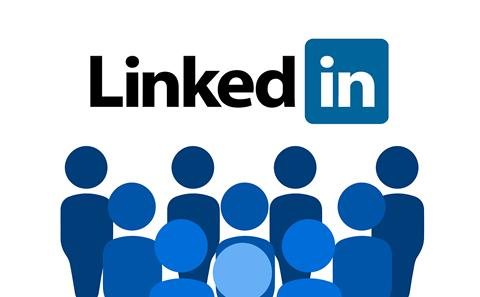 LinkedIn Logo with crowd underneath