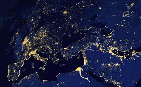 An orbital photo of the Earth.