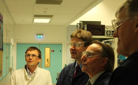 Prof Hywel Morgan, Prof Peter Smith and Rt Hon Greg Clark, Prof. Phil Nelson, CEO EPSRC