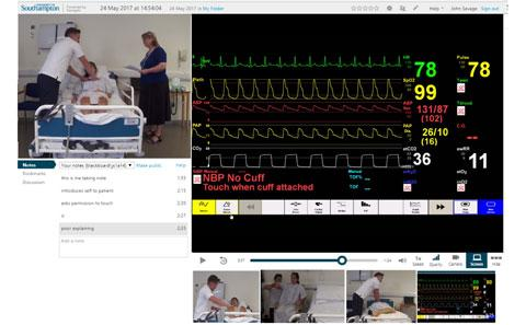 A Panopto recording showing video of student, video of patient data and notes