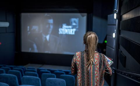 Film student in cinema