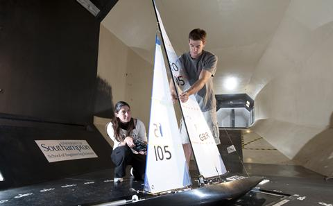 picture of students testing ship in towing tank
