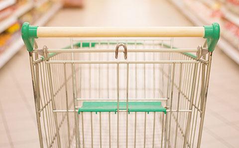 Trolley in supermarket