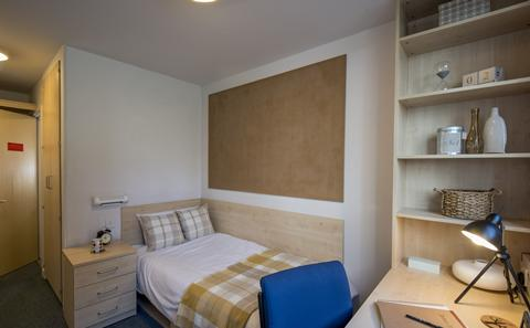 En suite category 2 room in Montefiore Block at Wessex Lane halls