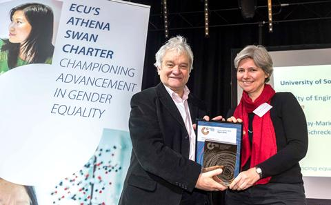 Paul Nurse presenting the Bronze renewal award to Kate Schrekenberg, December 2016