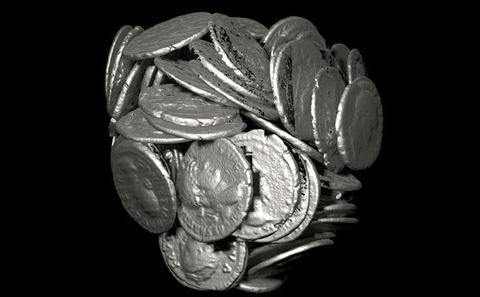 Virtual excavation of Roman coins