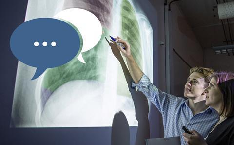 Southampton students examine an X-ray
