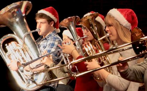 Students playing brass instruments