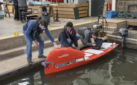 Southampton ship science students testing a boat