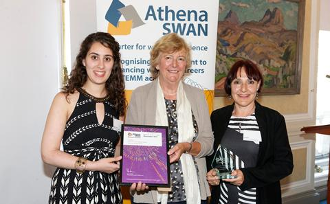 Doga Kuyucu and Su White collect the Bronze Athena SWAN award for ECS, June 2013