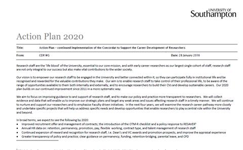 front page of 2020 action plan