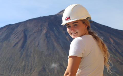 Environmental Geoscience student in the field