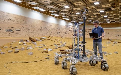 Southampton student working with a mars rover