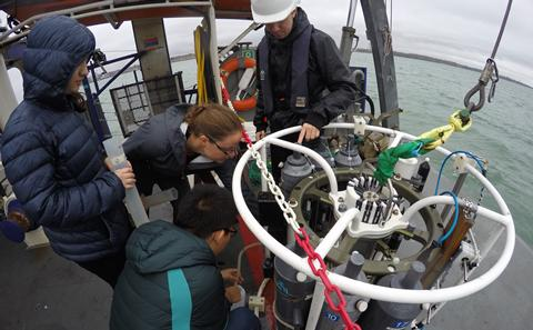 Students collecting field measurements aboard RV Callista
