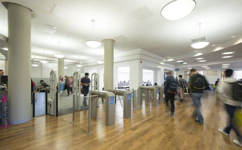 picture of busy entrance in library
