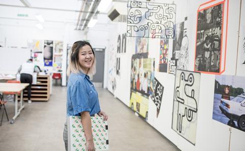 Student in an art studio.