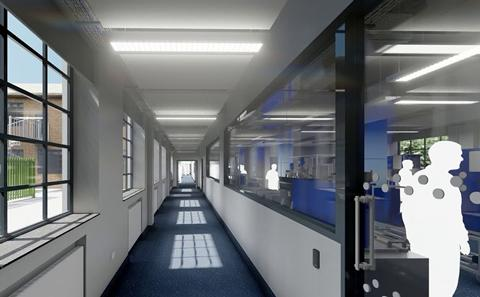 3D rendering of a laboratory, interior.