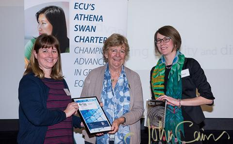 Nicola Englyst and Emily Swindle receive the Silver Athena SWAN award for Medicine in December 2015