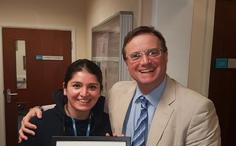 Professor Leighton and Dr Marcela Hernandez Garcia with her Roadshow award