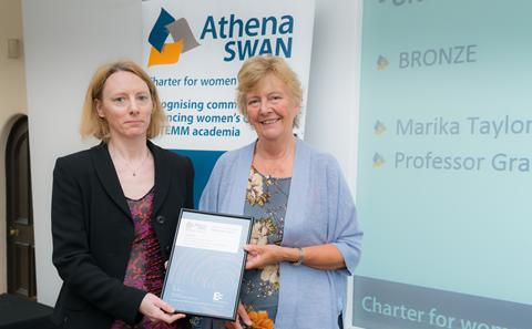 Marika Taylor collects the Bronze Athena SWAN award for Maths and S3RI, June 2015