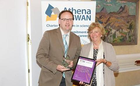 Martin Solan collects the Bronze Athena SWAN award for OES, June 2013