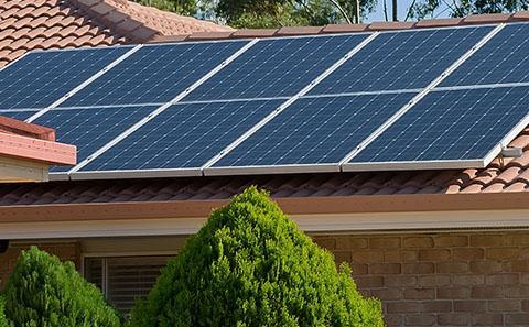Sun panels on house