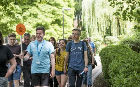 Visitors on a campus tour