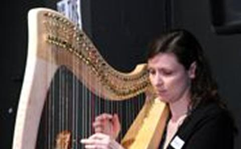 Sarah with her celtic harp