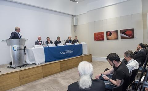 A panel at an event