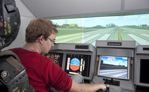 Student in flight simulator