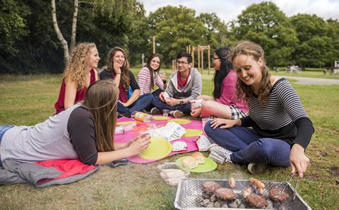 Students having a picnic on Southampton Common