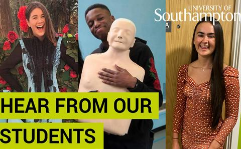 Three Southampton students in a video thumbnail