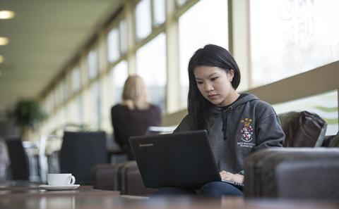 Student with her laptop