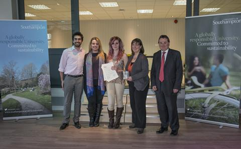SUSU Sustainability Zone team receive their award