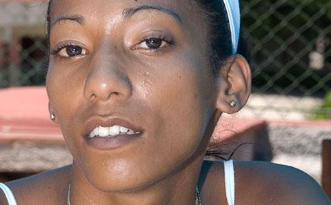 Close up of Cuban woman's face