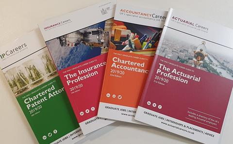 The front covers of Inside Careers publications.
