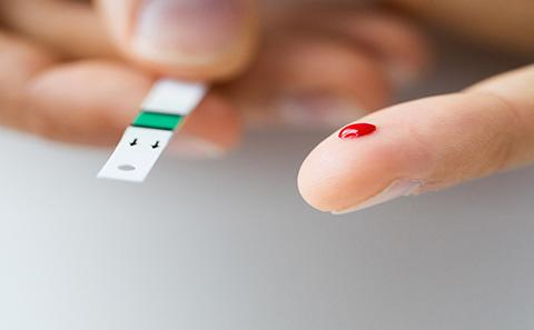 Blood test being taken for diabetes