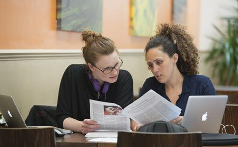 Students studying finances