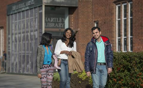 Students outside Hartley Library on Highfield Campus