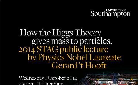 2014 STAG public lecture by Physics Nobel Laureate Gerard 't Hooft