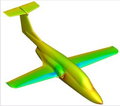 Surface pressure coefficient distribution of the Ranger 2000 aircraft at α=6.0 deg and M=0.8 computed using the PMB code (Euler solution)