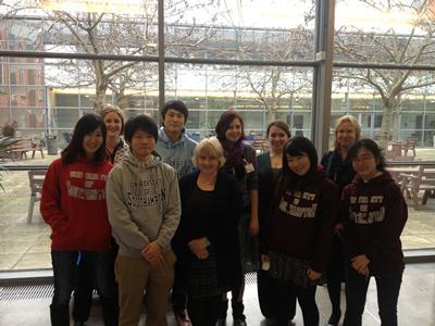 Kyoto students proudly wearing their University of Southampton 'hoodies' with Southampton Senior Teaching Fellow, Wendy Jones