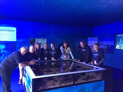 Ocean and Earth Science staff manning the 'Pop'Up' aquarium