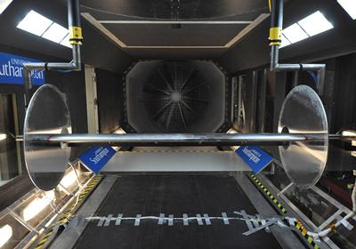 High lift wing in RJ Mitchell wind tunnel for blowing flow control experiment.
