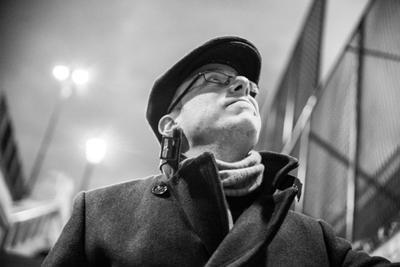 A black and white photo of Francesco Dimitri