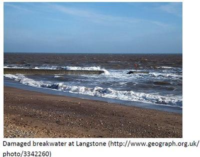 Damaged breakwater at Langstone