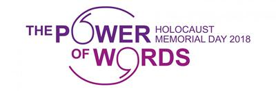 Logo for The Power of Words, Holocaust Memorial Day 2018