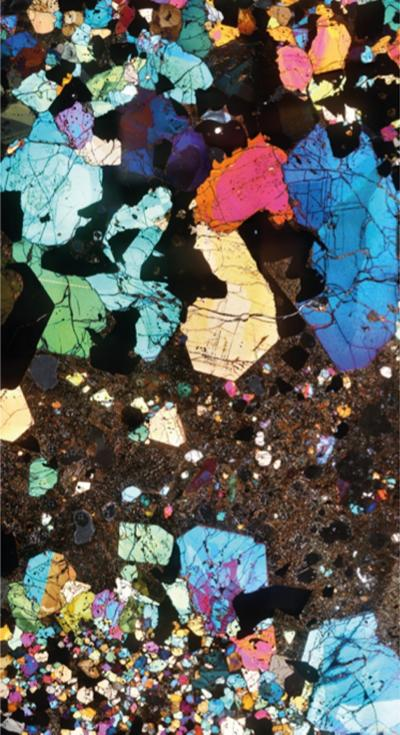 Petrological microscope view of a magma mush