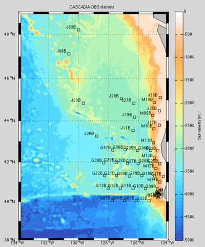 Locations of the 64 Cascadia Initiative OBS stations off the Californian coast