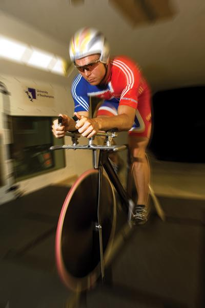 Chris Hoy testing in the Southampton wind tunnel.